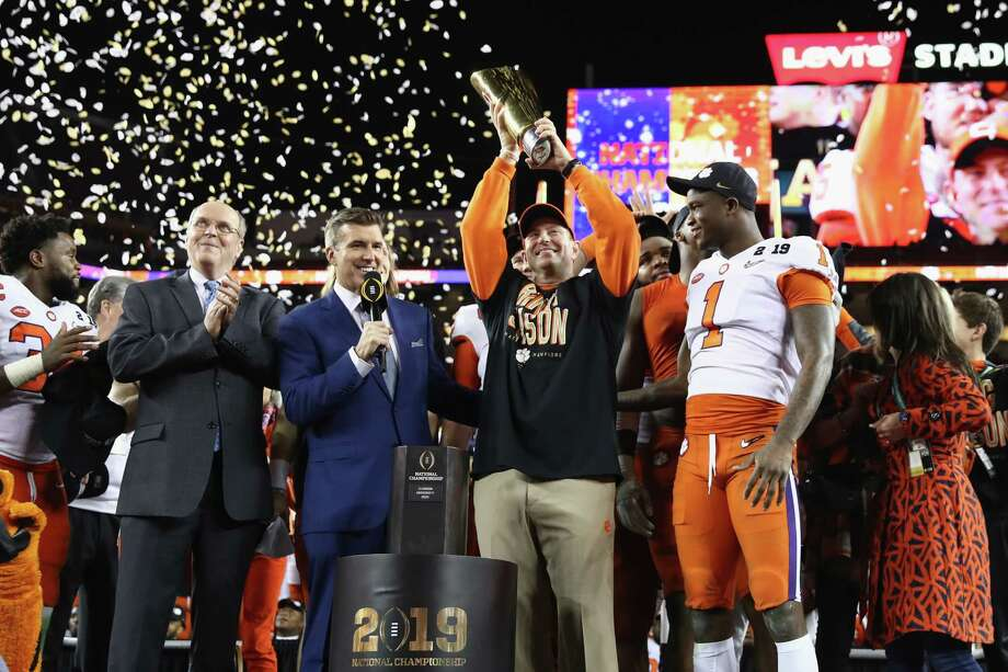 SANTA CLARA, CA - JANUARY 07:  Head coach Dabo Swinney of the Clemson Tigers celebrates his teams 44-16 win over the Alabama Crimson Tide with the trophy in the CFP National Championship presented by AT&T at Levi's Stadium on January 7, 2019 in Santa Clara, California. Photo: Ezra Shaw, Getty Images / 2019 Getty Images