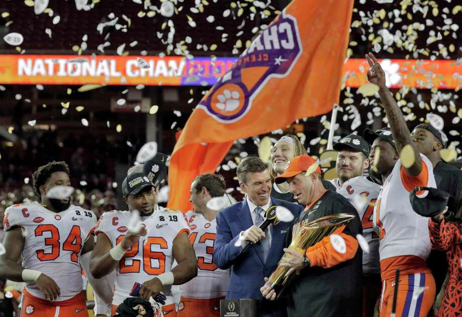 Clemson head coach Dabo Swinney is interviewed on stage with his players after the Clemson Tigers defeated the Alabama Crimson Tide 44-16 in the 2019 College Playoff National Championship Game between Alabama and Clemson at Levi's Stadium in Santa Clara, Calif., on Monday, January 7, 2019. Photo: Carlos Avila Gonzalez, The Chronicle / ONLINE_YES