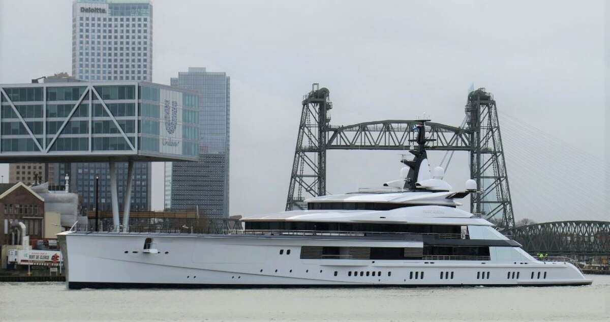 The massive 109-meter yacht comes complete with a helipad. (Photo:Dutch Yachting)