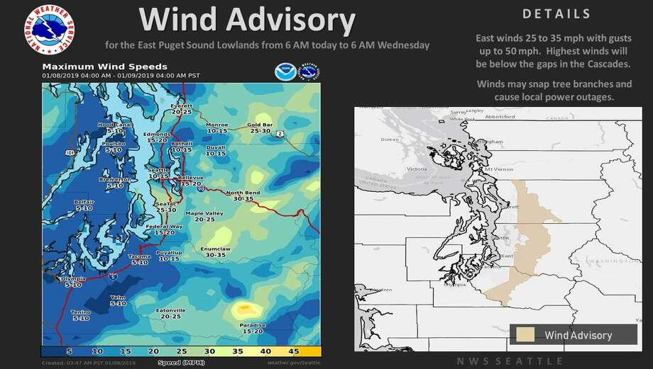 A wind advisory took effect Tuesday morning for eastern lowland areas. Photo: Courtesy NWS