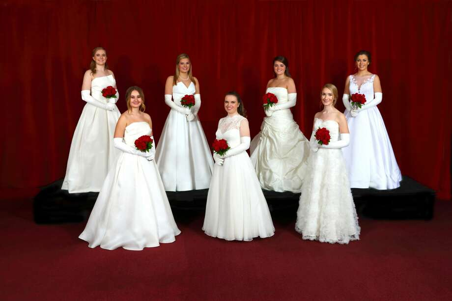 Seven debutantes were presented by the Minuet Club during an event Dec. 22 at the Petroleum Club: Claire Lancaster, from left, Reagan Smith, Mackenzie Kidwell, Katherine Bauer, Millicent Hullender, Nancy Rhone and Krista Somers. Photo: Photo Courtesy Of Curtis Routh