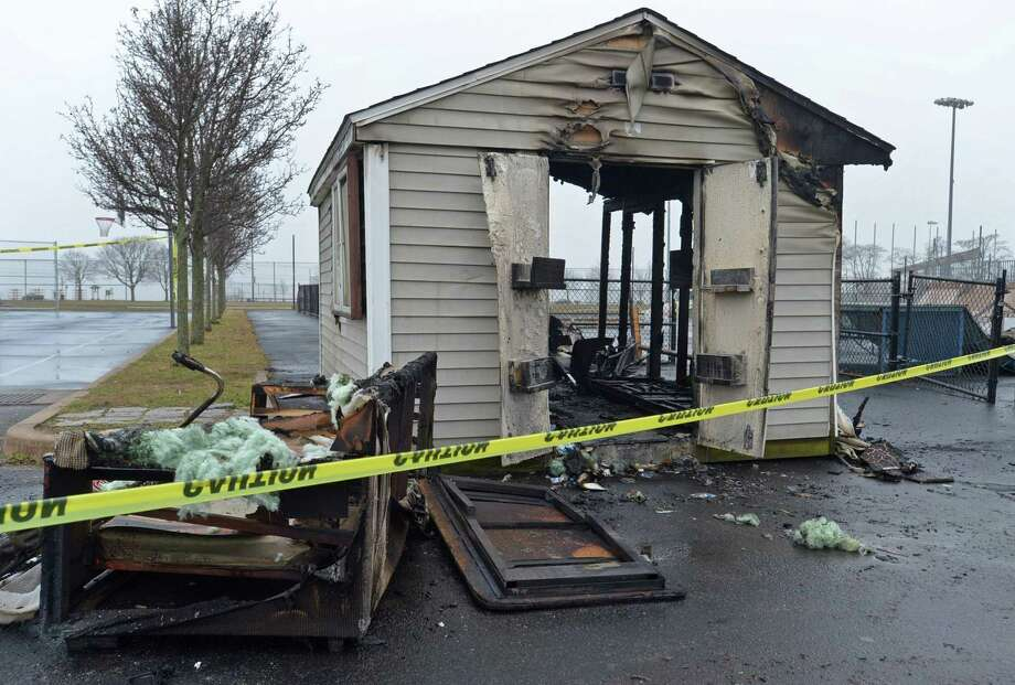 A storage shed that stored furniture and equipment for the adjacent skate park Tuesday, January 8, 2019, was gutted by fire Monday night at Calf Pasture Beach in Norwalk, Conn. Photo: Erik Trautmann / Hearst Connecticut Media / Norwalk Hour