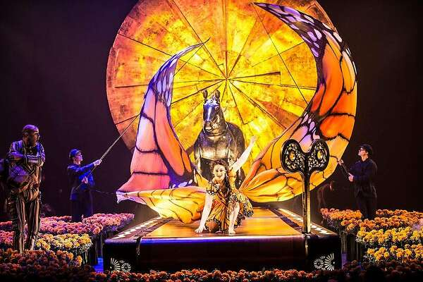 """The visual enticements of """"Luzia,"""" Cirque du Soleil's Mexico-inspired production, include a giant monarch butterfly and several larger-than-life-size puppets."""