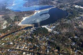 Sanford Lake and the Sanford Dam, looking North, as seen from the air. (Photo provided/Dot Hornsby)