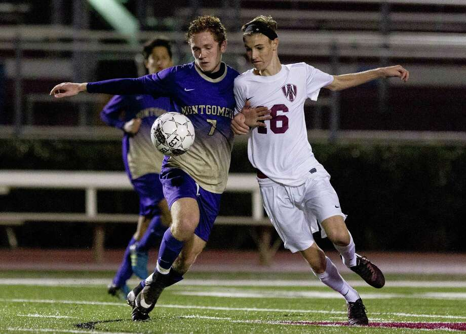 Magnolia's Cade Knox (16) goes up against Montgomery's Callum Darby (7) for the ball during the second period of a non-district high school boys soccer game Tuesday, Jan. 17, 2017, in Magnolia. Magnolia defeated Montgomery 3-1. Photo: Jason Fochtman, Staff Photographer / Houston Chronicle / © 2017 Houston Chronicle