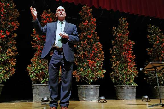 Crosby ISD Superintendent Scott Davis gives the district's yearly convocation in front of seven magnolia trees at Crosby High School on Jan. 7, 2019. These magnolia trees represent the seven Crosby ISD campuses.