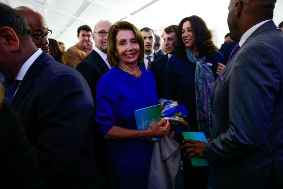 Speaker of the House of Representatives Nancy Pelosi greets the crowd after Gavin Newsom's inauguration ceremony in Sacramento, California, on Monday, January 7th, 2019.