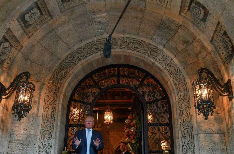 Then President-elect Donald Trump makes a statement to the media following a day of transition team meetings at Mar-a-Lago Club in December 2016 in Palm Beach, Fla. Photo: Washington Post Photo By Ricky Carioti / The Washington Post