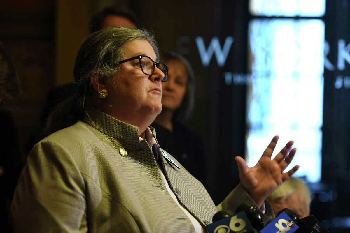 Assembly member Carrie Woerner speaks during a press conference where civic groups and lawmakers pushed for ethics reform on Tuesday, Jan. 8, 2019, in Albany, N.Y. (Will Waldron/Times Union)