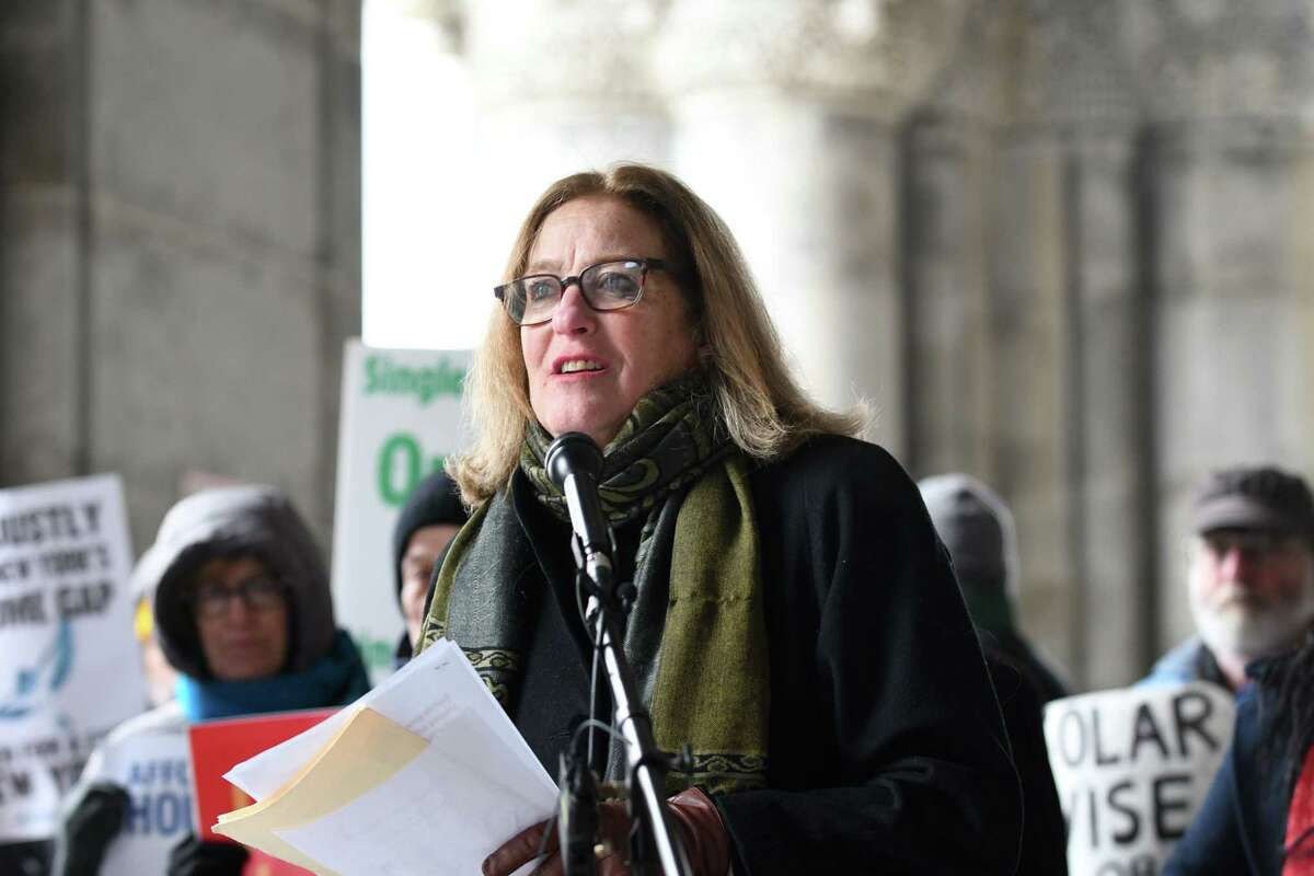 Susan Zimet, executive director of Hunger Action Network of NewYork State, speaks during the 30th Peoples State of the State rally on Tuesday, Jan. 8, 2019, outside the Capitol on State St. in Albany, N.Y. (Will Waldron/Times Union)