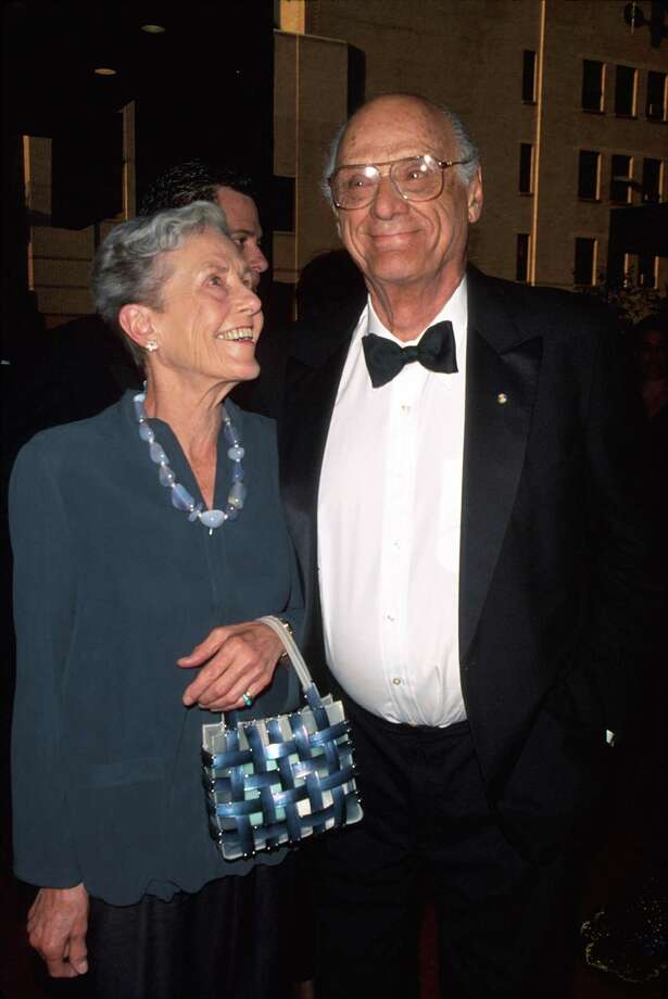 (L-R) Photographer Inge Morath w. husband, playwright Arthur Miller at Tony Awards. (Photo by Dave Allocca/DMI/The LIFE Picture Collection/Getty Images) Photo: Dave Allocca / The LIFE Picture Collection/Getty Images / Time Life Pictures
