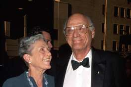 (L-R) Photographer Inge Morath w. husband, playwright Arthur Miller at Tony Awards. (Photo by Dave Allocca/DMI/The LIFE Picture Collection/Getty Images)