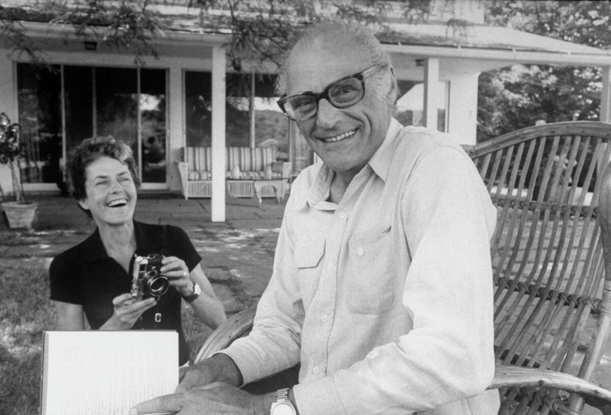 ROXBURY, UNITED STATES - JANUARY 01: Playwright Arthur Miller (R) with wife, photographer Inge Morath. (Photo by Alfred Eisenstaedt/The LIFE Picture Collection/Getty Images)