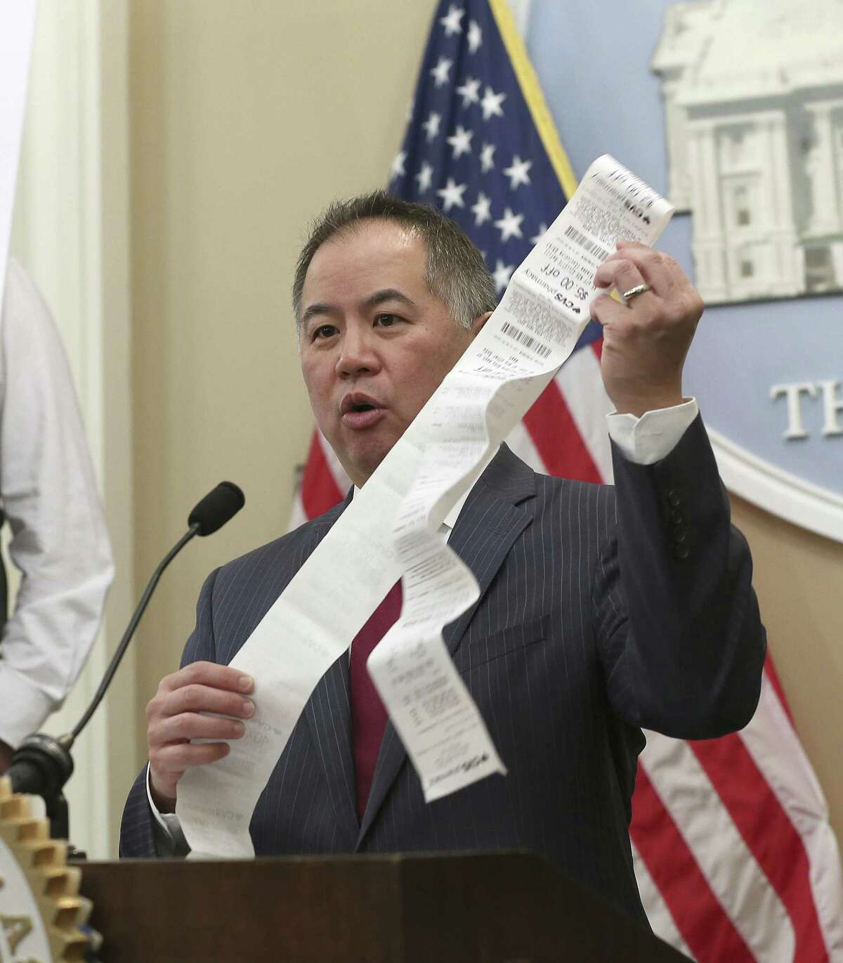 Assemblyman Phil Ting, D-San Francisco, touted environmental benefits of moving toward paperless receipts.