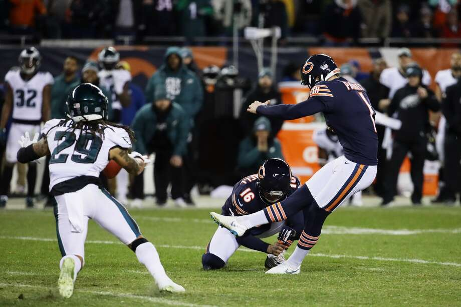 Cody Parkey misses a field goal attempt in the final moments of the NFC Wild Card Playoff game between Philadelphia Eagles and Chicago Bears at Soldier Field, Jan. 6, 2019. The Bears would have won the game had he made the kick. Photo: Jonathan Daniel/Getty Images / 2019 Getty Images