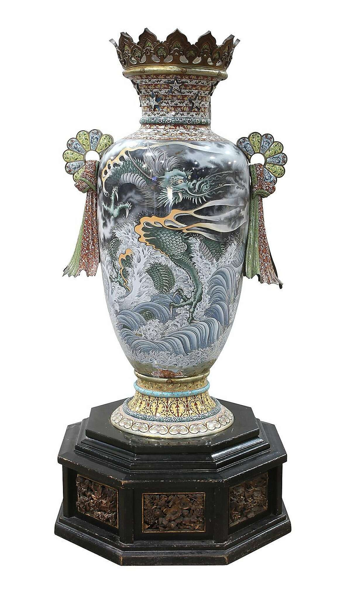 One of three Japanese vases from the 1893 World's Columbian Exposition that is nearly 8 feet tall is set to be auctioned in February. (Clars Auction Gallery)