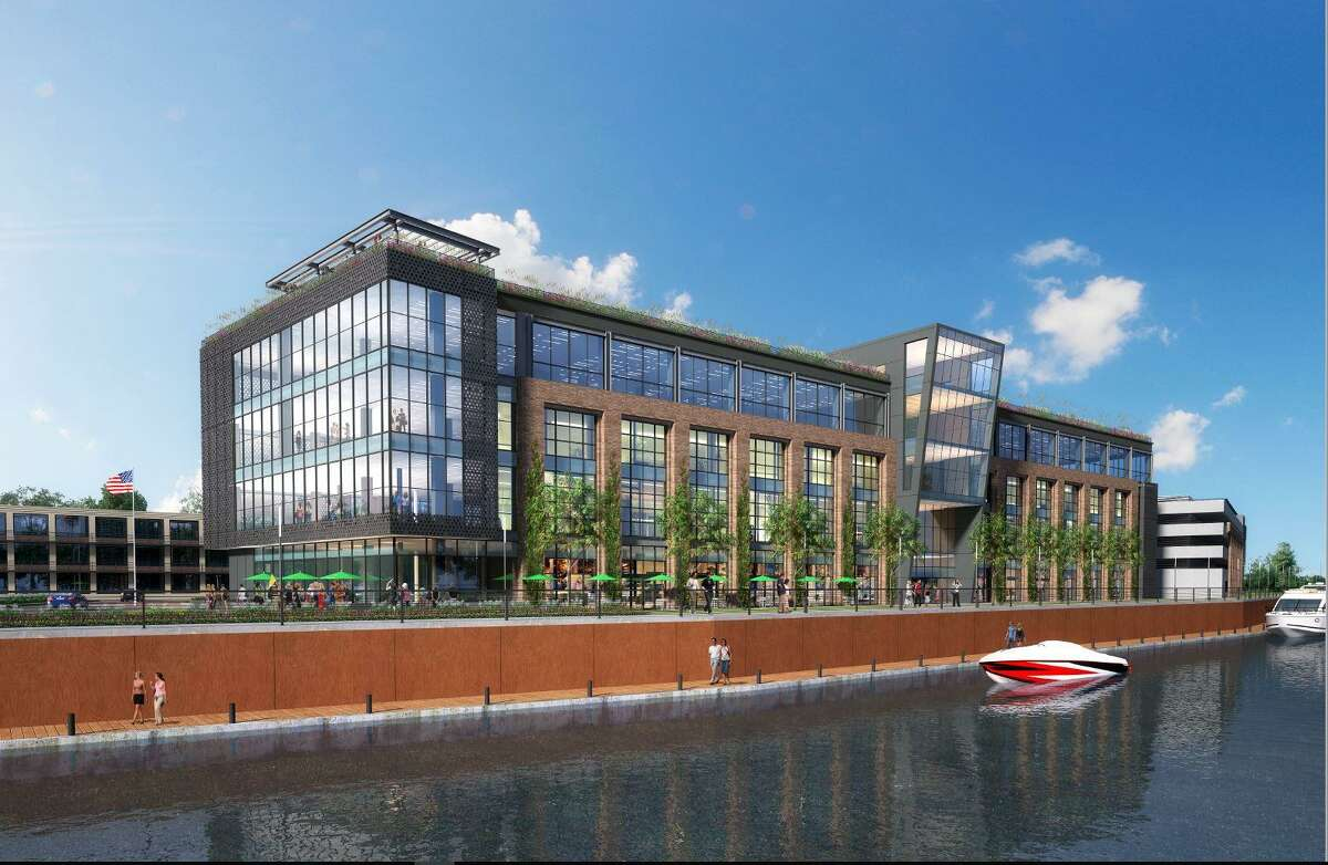"""Rendering of a proposed """"media village"""" building, 860 Ludlow St., in Stamford's South End."""