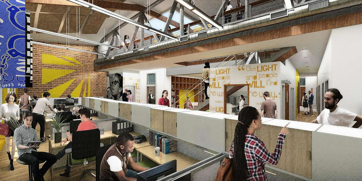 A rendering of an interior meeting space in the Restore Oakland facility now under construction in Oakland's Fruitvale district. The renovated building, which will include a restaurant emphasizing job training and a variety of community services, is expected to open in the spring of 2019.