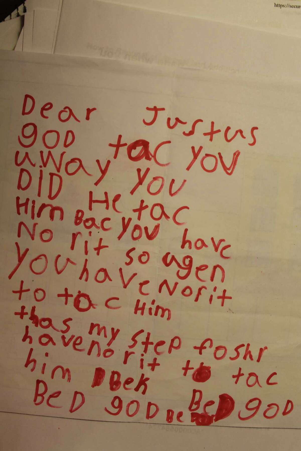 Olivia Torres was 7 when her stepfather, the only father figure she had, was killed. She wrote this letter to Justus but then got so angry at God she directly addresses him. She angrily tells God that He had no right to take her stepdad and ends the letter,