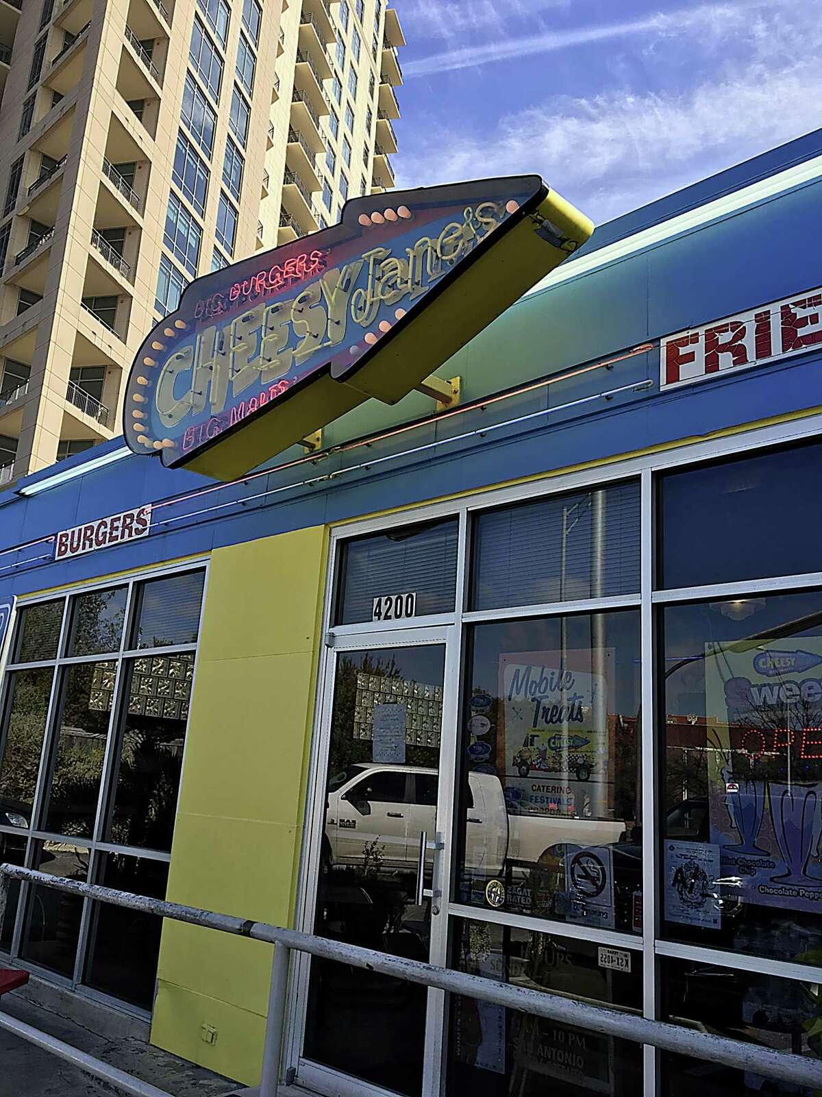 Cheesy Jane's burger shop on Broadway.
