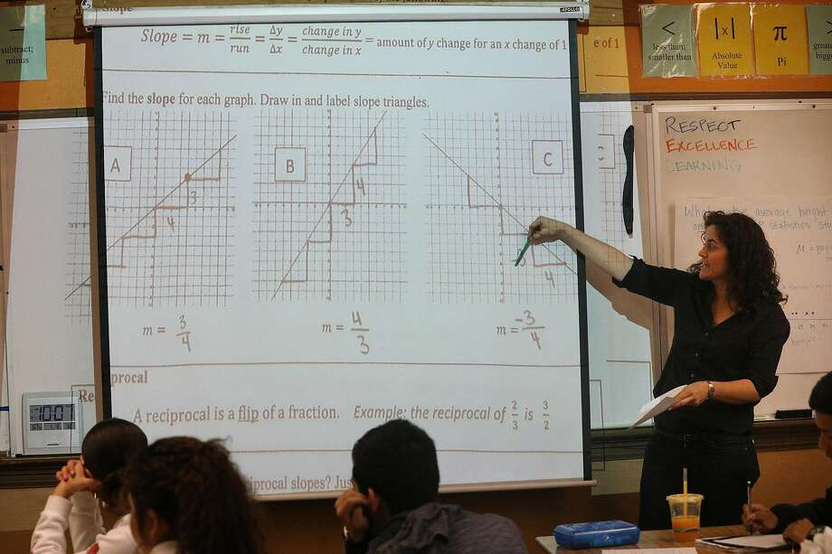 Math teacher Dayna Soares reviews a class assignment about linear equations during her Algebra II class at Mission High. Photo: Lea Suzuki / The Chronicle