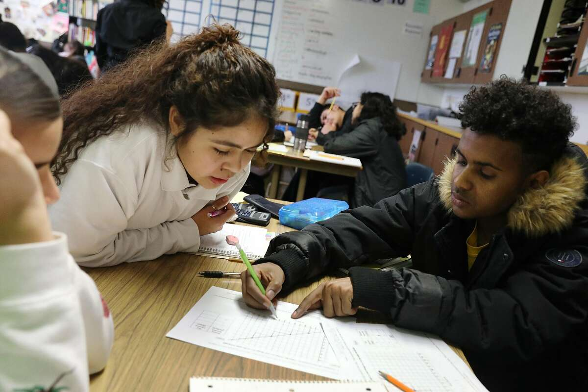 Mission High School juniors Xenia Mendez (l to r), Marlin Astrid Navidad and Ali Ibraham work in a group on a class assignment on inverse functions during Dayna Soares' Algebra II class at Mission High School on Tuesday, January 8, 2019 in San Francisco, Calif.