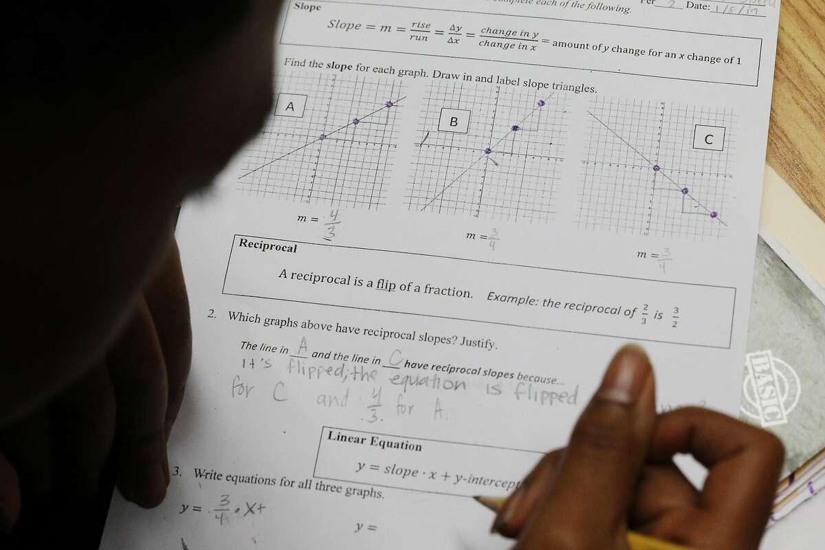 Mission High School junior Jamariae Speed works on a class assignment reviewing linear equations, slopes and reciprocals during Dayna Soares' Algebra II class at Mission High School on Tuesday, January 8, 2019 in San Francisco, Calif.