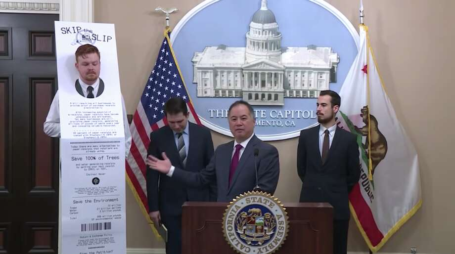 Assemblyman Phil Ting (D-San Francisco) introduced legislation Tuesday aimed at curbing waste from paper receipts. During a 20-minute press conference, a man dressed as a paper receipt was used to help illustrate the point. Photo: Screenshot / Assembly Access