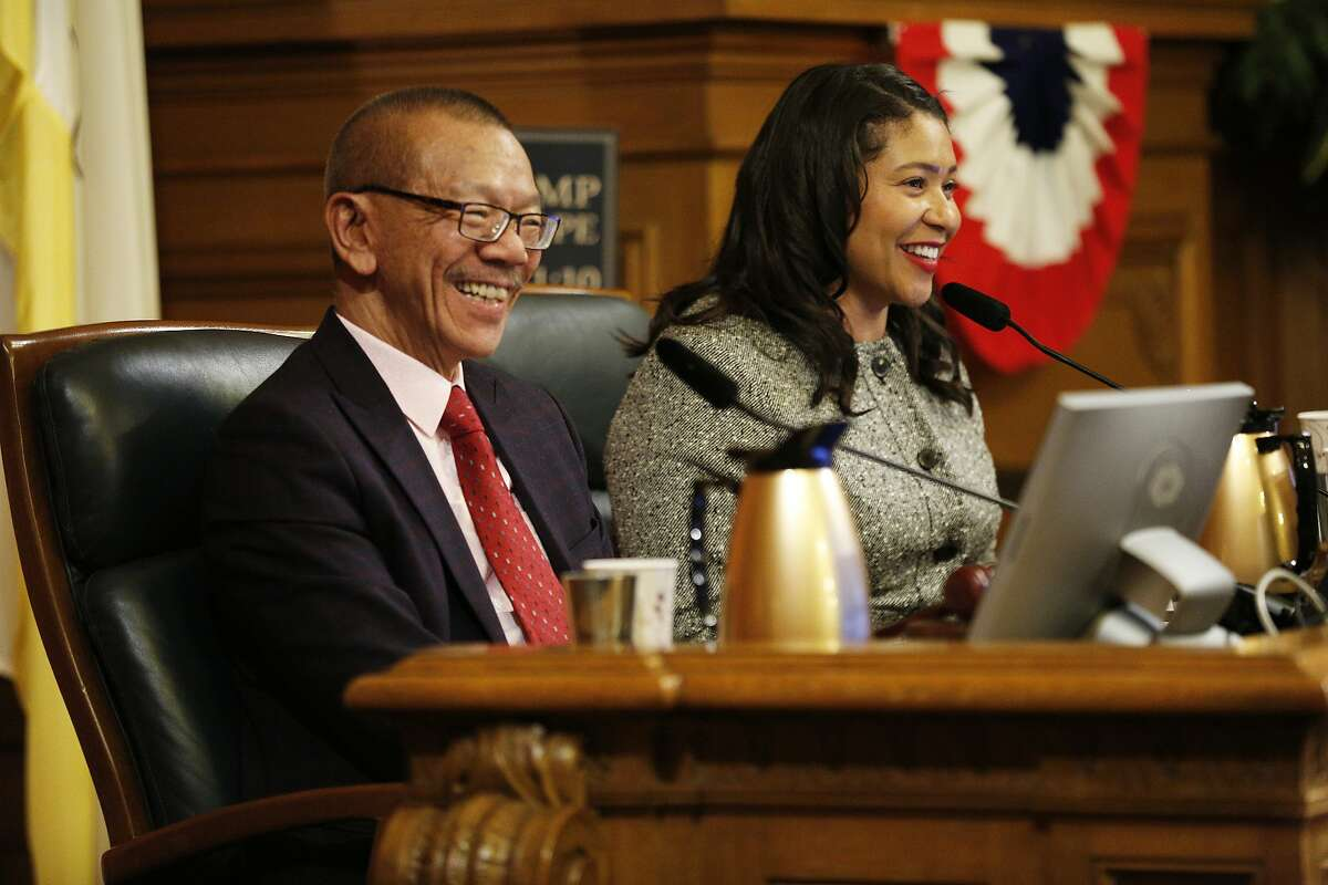From left: The new president of the Board of Supervisors Norman Yee with Mayor London Breed at City Hall on Tuesday, Jan. 8, 2019, in San Francisco, Calif.
