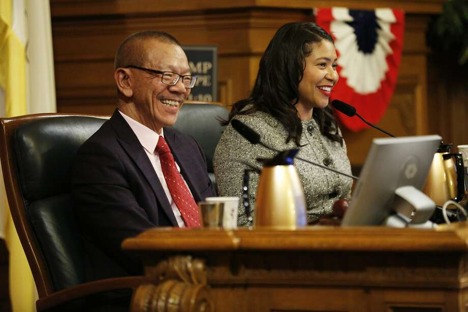 Norman Yee, new president of the Board of Supervisors, with Mayor London Breed. Photo: Santiago Mejia / The Chronicle