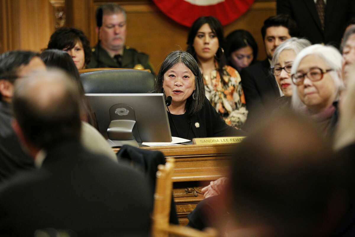 District 1 supervisor Sandra Lee Fewer gives remarks before a vote by the Board of Supervisors to elect its new president of the board at City Hall on Tuesday, Jan. 8, 2019, in San Francisco, Calif.