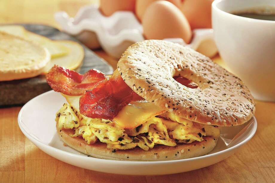 Texas Truffle: bacon & egg bagel sandwich. Photo: Courtesy Of Thomas'® / / Kevin Marple 2012