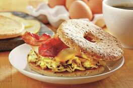 Texas Truffle: bacon & egg bagel sandwich.