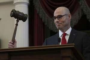 Texas House Speaker Dennis Bonnen, gavels in the opening session of the Texas House of Representatives, on Tuesday, Jan. 8, 2019, in Austin, TX.