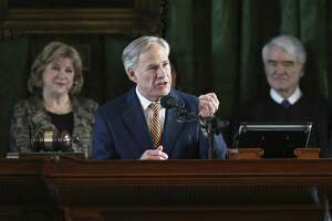 Governor Greg Abbott addresses the Senate as the 86th State Legislature convenes on January 8, 2019.
