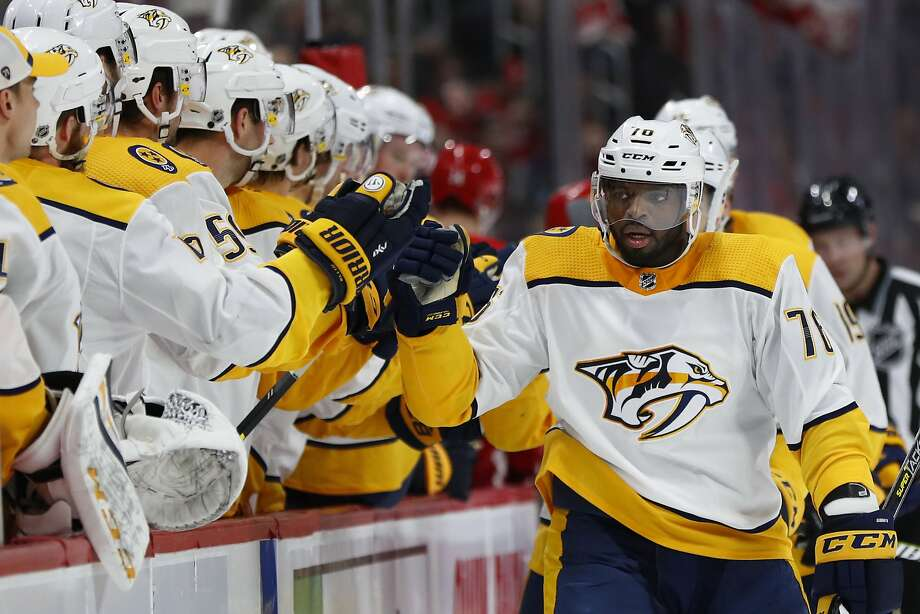Nashville Predators defenseman P.K. Subban, right, celebrates his goal against the Detroit Red Wings in the first period of an NHL hockey game Friday, Jan. 4, 2019, in Detroit. (AP Photo/Paul Sancya) Photo: Paul Sancya / Associated Press