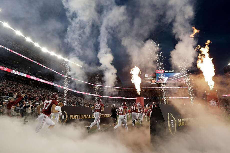 Alabama players enter the field before the 2019 College Playoff National Championship Game between Alabama and Clemson at Levi's Stadium in Santa Clara, Calif., on Monday, January 7, 2019. Photo: Carlos Avila Gonzalez / The Chronicle
