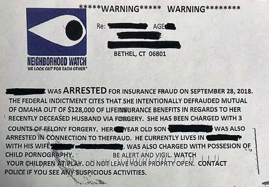 The police in Bethel, Conn., are investigating after various residents in town have been listed on a postcard that seems to have been sent out by a Neighborhood Watch program. Bethel police said the charges are false and that the flier did not come from a legitimate source. Photo: Contributed Photo / Bethel Police Department / Contributed Photo / Connecticut Post Contributed