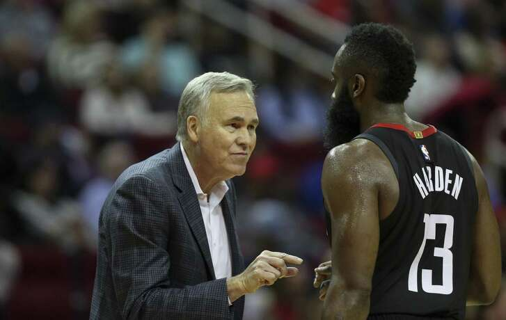 Guard James Harden praises Rockets coach Mike D'Antoni, left, for summoning the motivation to do great things on the court.