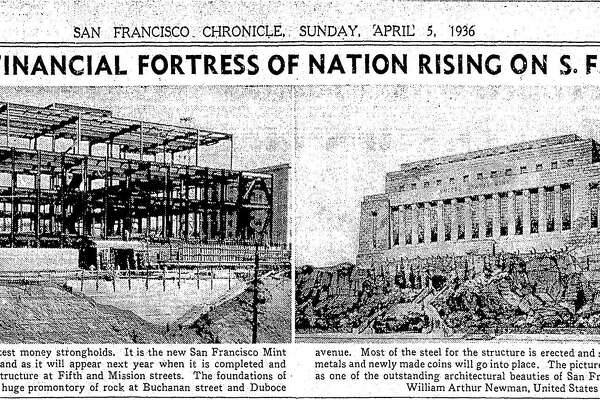 Progress report on the construction of the new U.S. Mint was being built at the corner of Buchanan and Duboce near Market Street in San Francisco April 5, 1936