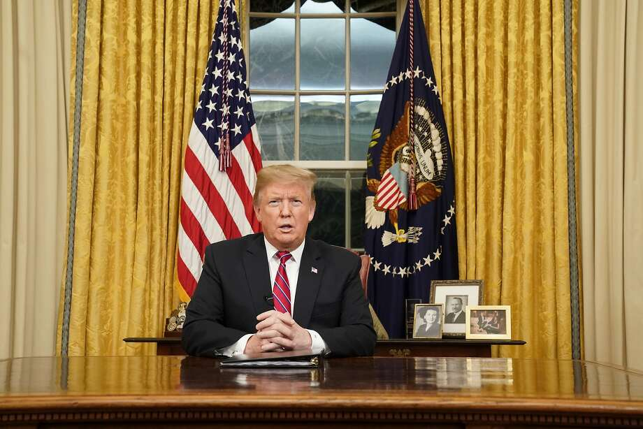 WASHINGTON, DC - JANUARY 08: U.S. President Donald Trump speaks to the nation in his first-prime address from the Oval Office of the White House on January 8, 2019 in Washington, DC. A partial shutdown of the federal government has gone on for 17 days following the president's demand for $5.7 billion for a border wall while Democrats have refused. (Photo by Carlos Barria-Pool/Getty Images) Photo: Carlos Barria / Pool / Getty Images