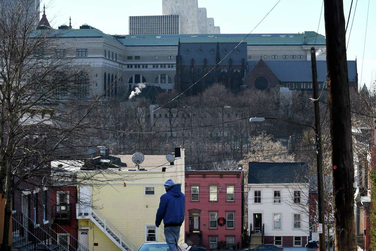 View looking down North Swan St. toward the State Education Building and Cathedral of All Saints on Thursday, Dec. 27, 2018, in Albany, N.Y. A thirteen-year-old girl was hit by a bullet at North Swan and Third streets Jan. 11, 2020. (Will Waldron/Times Union)