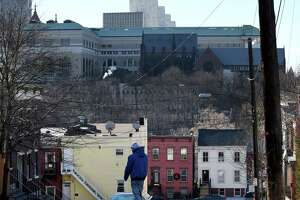 View looking down North Swan St. toward the State Education Building and Cathedral of All Saints on Thursday, Dec. 27, 2018, in Albany, N.Y.  (Will Waldron/Times Union)