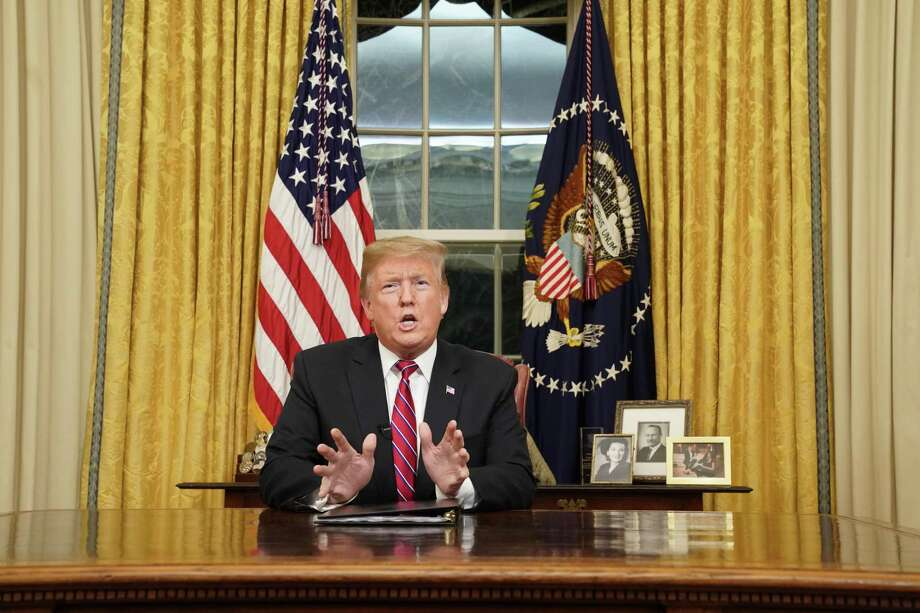 President Donald Trump speaks to the nation in his first-prime address from the Oval Office. Democrats have steadfastly resisted his demand for wall funding. Photo: Pool, Pool / Getty Images / 2019 Pool