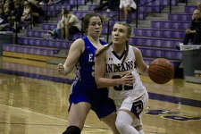 Port Neches-Groves' Mollee Priddy drives to the basket looking to score in PN-G's game against Barbers Hill on Tuesday night at PN-G High School.