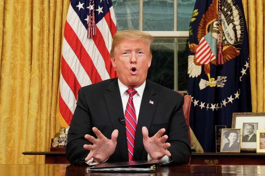 El presidente Donald Trump da un discurso en la Oficina Oval de la Casa Blanca, el martes 8 de enero de 2019, en Washington. Photo: Carlos Barria /AFP /Getty Images / AFP