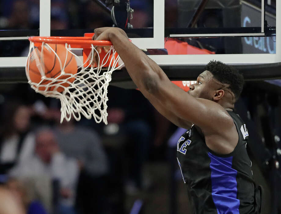 Duke's Zion Williamson dunks against Wake Forest during the first half of an NCAA college basketball game in Winston-Salem, N.C., Tuesday, Jan. 8, 2019. (AP Photo/Chuck Burton) Photo: Chuck Burton / Copyright 2019 The Associated Press. All rights reserved