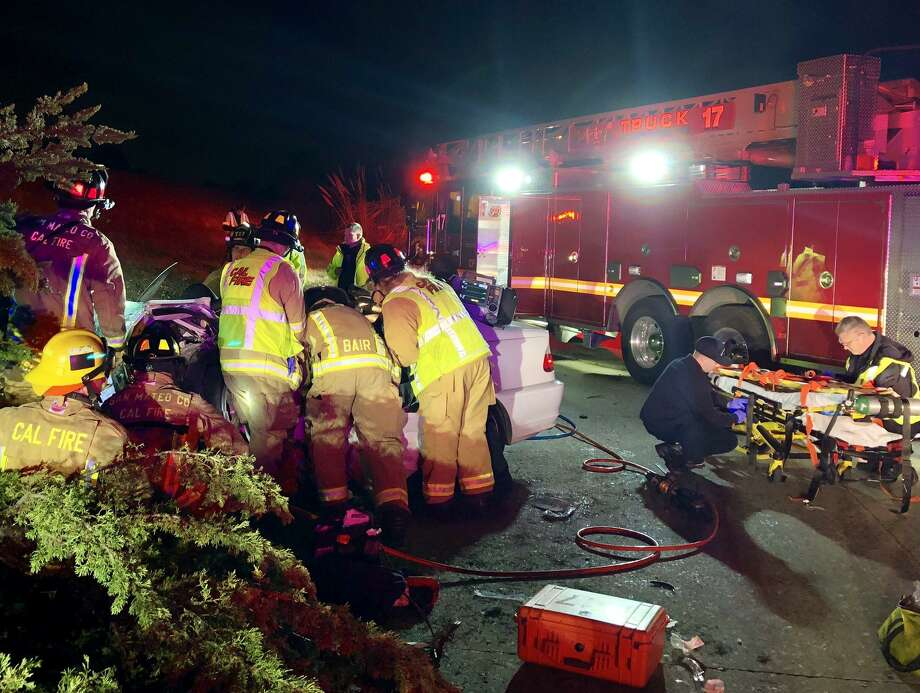 Personnel with the San Mateo County Fire Department and California Highway Patrol's Redwood City office responded to a report of a crash on southbound I-280 just after 8 p.m., according to a CHP traffic report. Photo: Courtesy Of CAL FIRE San Mateo - Santa Cruz Unit