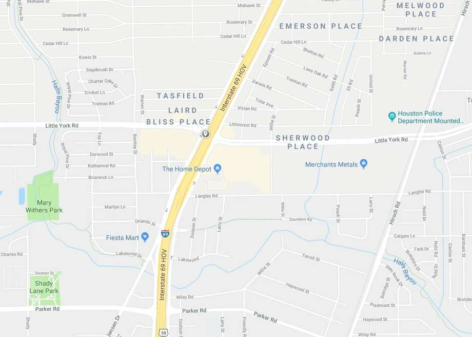 A fuel spill was reported on Wednesday, Jan. 9, 2019 at the location of the gray pin, on the Eastex Freeway at Little York. Photo: Google Maps
