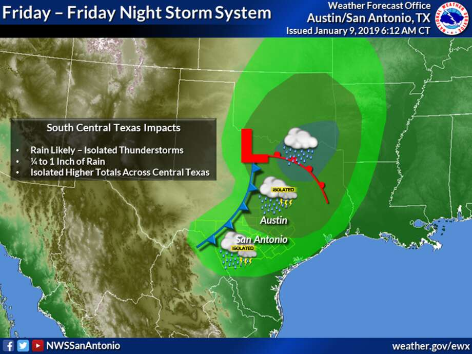 The National Weather Service is predicting rainfall Friday followed by a cold front. The San Antonio area is not expected to see more than 1 inch. Photo: Courtesy Of National Weather Service